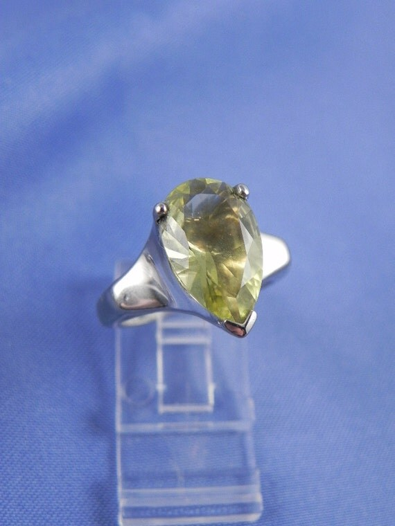 Vintage 5 Carat Citrine Sterling Ring