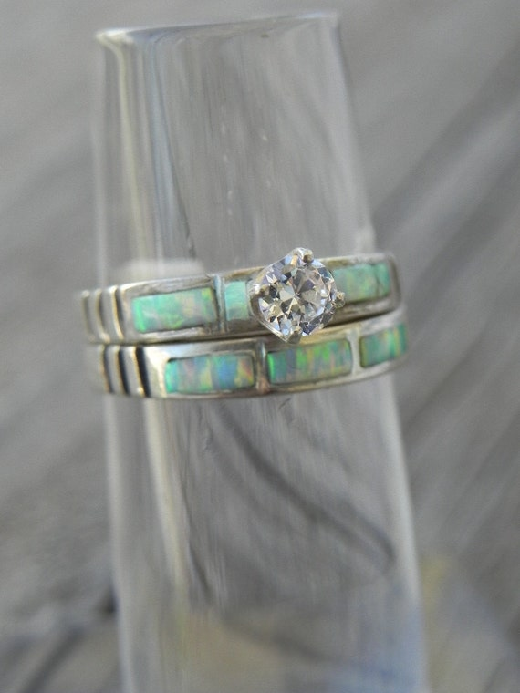 opal wedding ring set by hollywoodrings on etsy With opal wedding ring set