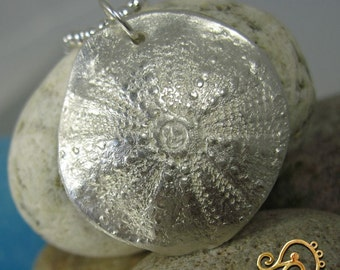 Fine Silver Sea Urchin pendant on 925 silver 20inch (50cm) ball chain