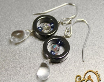 Hematite, Crystal and silver dangle earrings