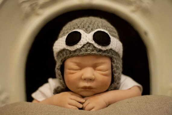 Aviator Hat and Goggles baby, toddler and child grey and black
