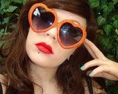 Tequila Sunrise- Orange Heart Shaped Sunglasses With Iridescent Orange Rhinestones