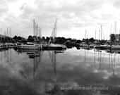 Scenery photograph, Sailboats at Bluffer's Marina, Toronto, black and white, home office decor, sailboats, gift 30