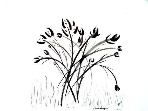 Dancing Flowers print - Iris - Japanese sumi e ink painting, print, spring, home decor, gift 20, wall art
