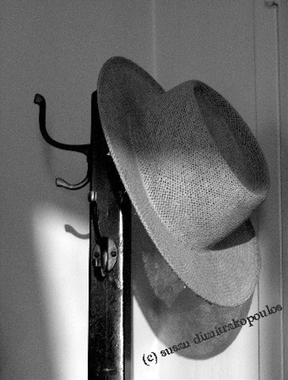 Old Friend-home office, wall art, fine art, hat, Humphrey Bogart, Casablanca, Mad Men, black white, straw hat, shadows, romance, gift 20