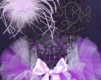 Newborn Infant Lavender Purple Tutu w/Ostrich Feather Headband