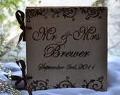 Personalized  Wedding guest book - handburned