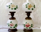Vintage Milk Glass Lamps with Toll Painting