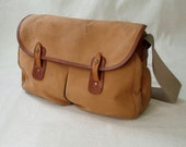 Vintage Paul Stuart Leather and Canvas Satchel Messenger Bag Explorer Bag Purse Murse