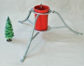 SALE -- Vintage Folding Aluminum Red and Silver Christmas Tree Stand