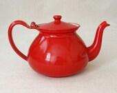 Vintage Danish Modern Red Enamelware Teapot