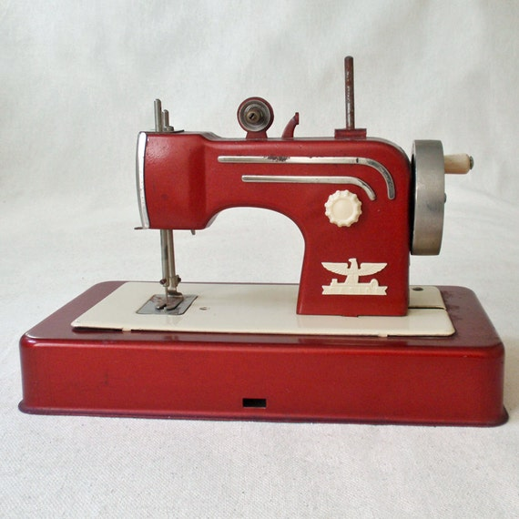 RESERVED FOR MEILING --Vintage Casige Toy Sewing Machine Red Made in Western Germany