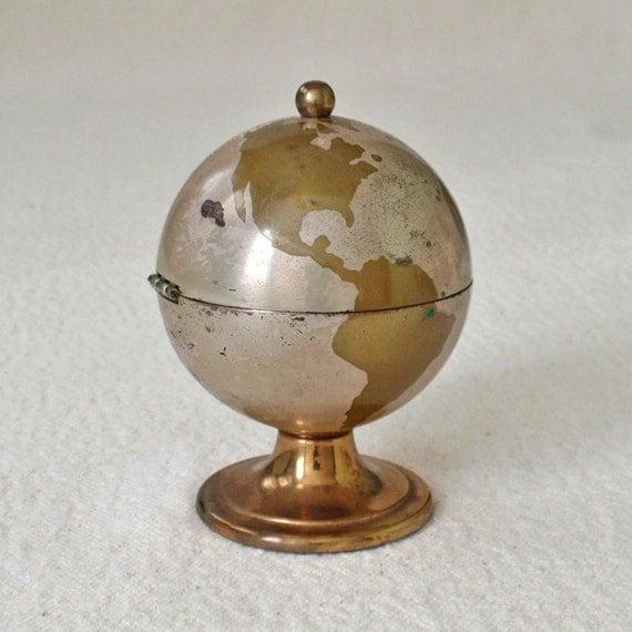 Vintage Antique Brass Table Cigarette Lighter World Globe