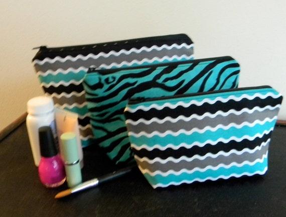 Make-up bag set - Teal and Black Animal Print