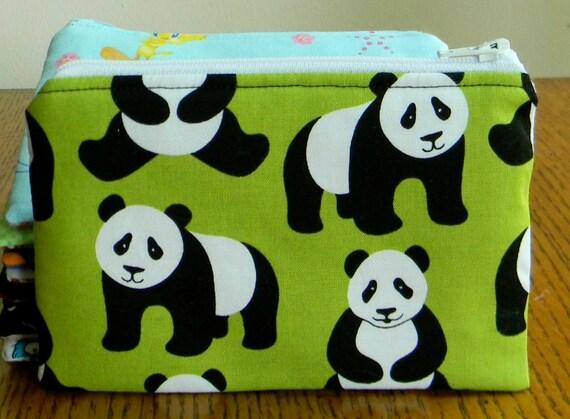 "Change Purse Wallet 6"" x 4"" - Panda Bear on Green"