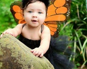 Monarch Butterfly Tutu Skirt Costume Set- Includes Tutu Skirt, Butterfly Wings and Matching Antenna Headband