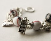 White Tartan and Charms Bracelet