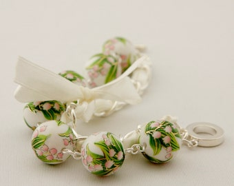 Lily of the Valley and White Ribbon Bracelet