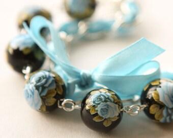 Roses and Blue Satin Ribbon Bracelet