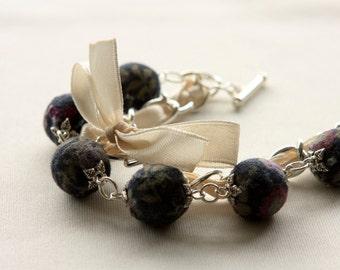 Blueberry beads and ivory ribbon bracelet