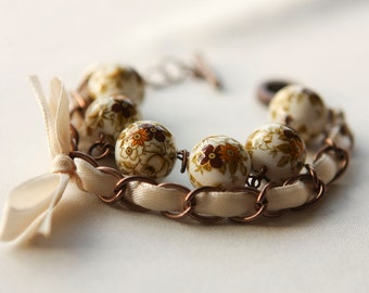 Beige Flowers Beads and Ivory Ribbon Bracelet