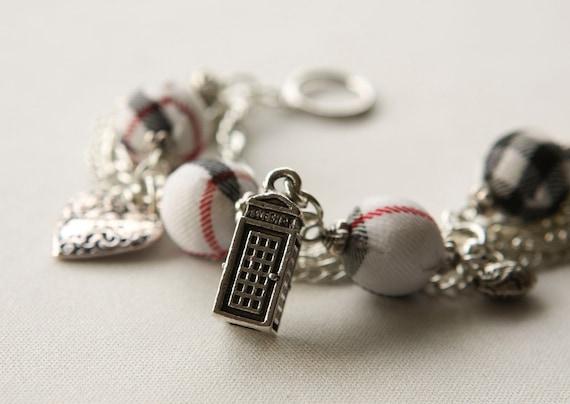 White Tartan and Charms Bracelet