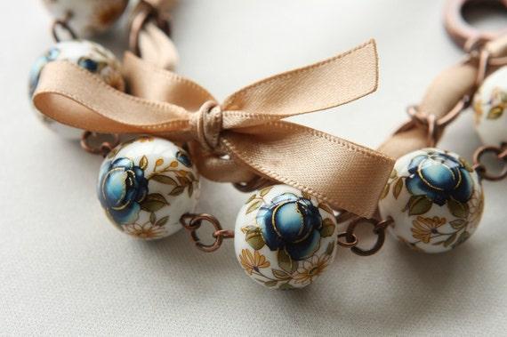 Blue Roses and Ivory Ribbon Bracelet
