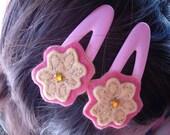 Two Felt Flower Hairclips