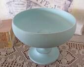 Vintage Light Blue Wooden Pedestal Bowl Beach Cottage Blue Pedestal Bowl