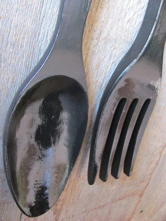 Vintage Giant Wooden Spoon And Fork Painted A Glossy Black