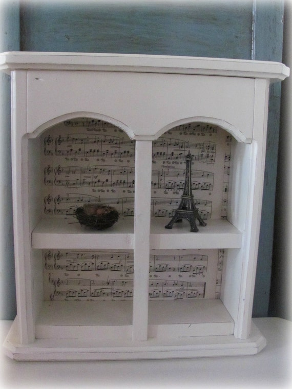 Shabby Chic Curio Cabinet Cream Shelf Lined With Vintage Sheet Music