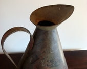 Vintage Industrial Extra Large Metal Pitcher with Brown and Red coloration