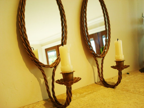 Vintage Wall Sconces Gold Pair Mirrors Candle Holders