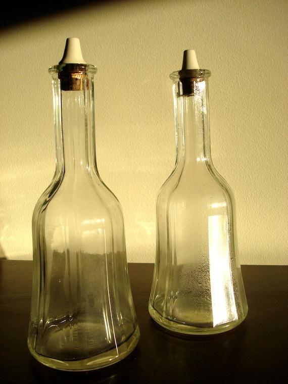 Vintage Glass bottles, with original Porcelain Stopper, Oil and Vinegar Bottles