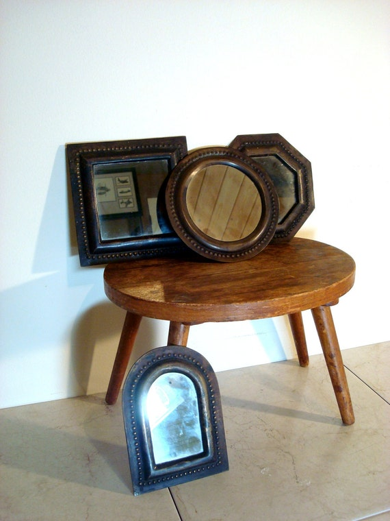 Vintage set of Four Small Hanging Mirrors