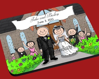 personalized Wedding Outside image Mouse Pad Couple