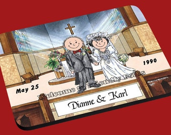 personalized Wedding Inside Church image Mouse Pad Couple