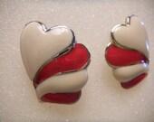 Enameled Heart Earrings Refurbished (pierced earrings)