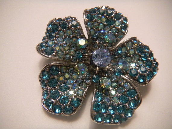 The Blue Rhinestone Flower Brooch/Pin (hallmarked and stamped)