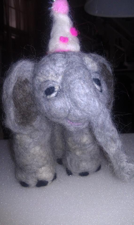 Ella the party Elephant (needle felted)