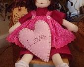 Sally Sue 16 inch muslin raggedy ann type primitive prim doll