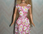 Handmade Barbie doll clothes - pink and white daisy dress