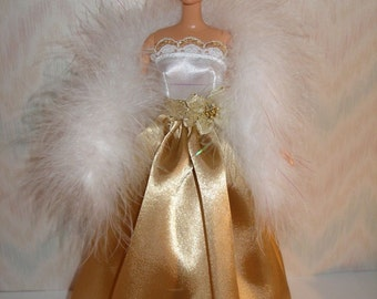 Gold and white handmade barbie gown and boa