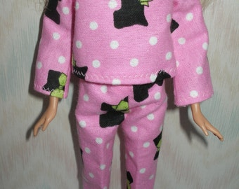 Handmade Barbie clothes - pink and black puppy pajamas