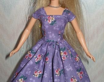 "Handmade 11.5"" fashion doll clothes - purple floral dress"