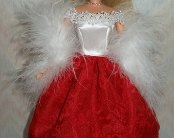 Handmade Barbie clothes - white and red gown with white boa