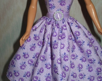 "Handmade 11.5"" fashion doll clothes - orchid floral print dress"