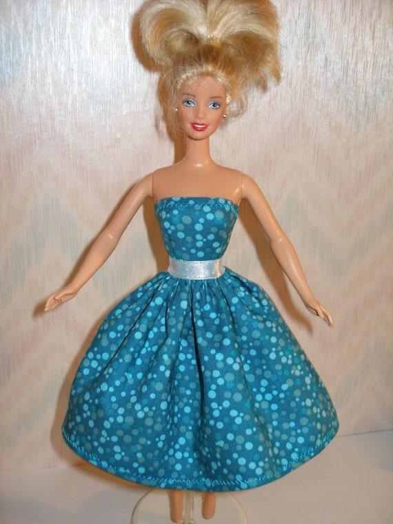 Turquoise Barbie House: Turquoise Handmade Barbie Dress