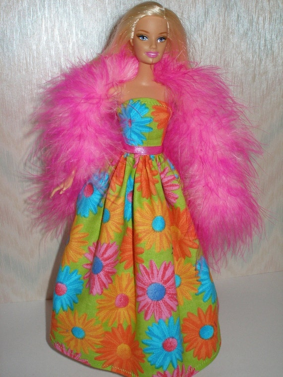 Fun floral handmade Barbie doll gown with bright pink boa