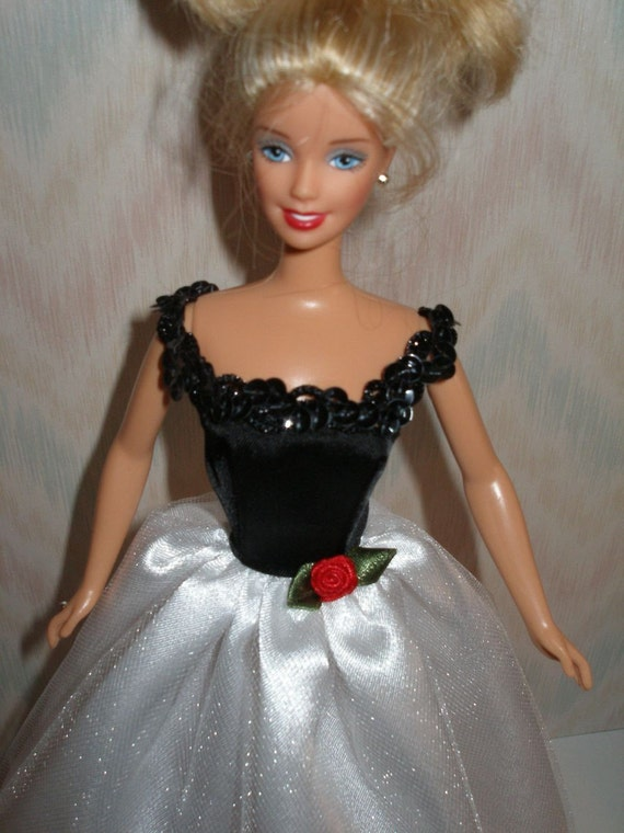 Handmade Barbie doll clothes - black and white gown with black boa